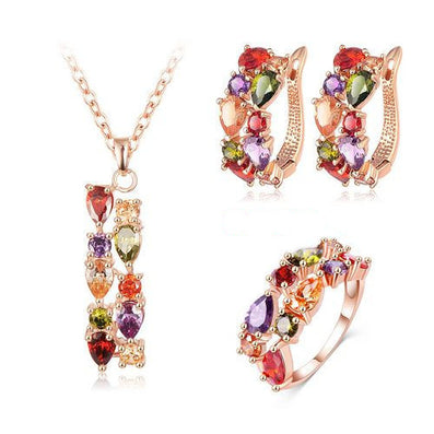 New Top Rose Gold Plate Flower Jewelry Set Multicolor Cubic Zircon Pendant/Earrings/Ring Women Wedding Jewelry Sets - CelebritystyleFashion.com.au online clothing shop australia