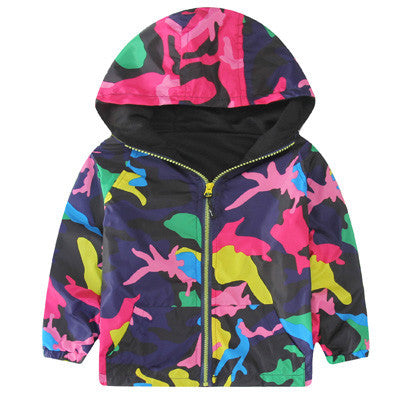 Hooded Boys Jackets Sport Camo Coats For Baby Boys Outerwears 1-8Y Children's Jackets Autumn Fluorescent Outdoor Windbreak SC142Purple