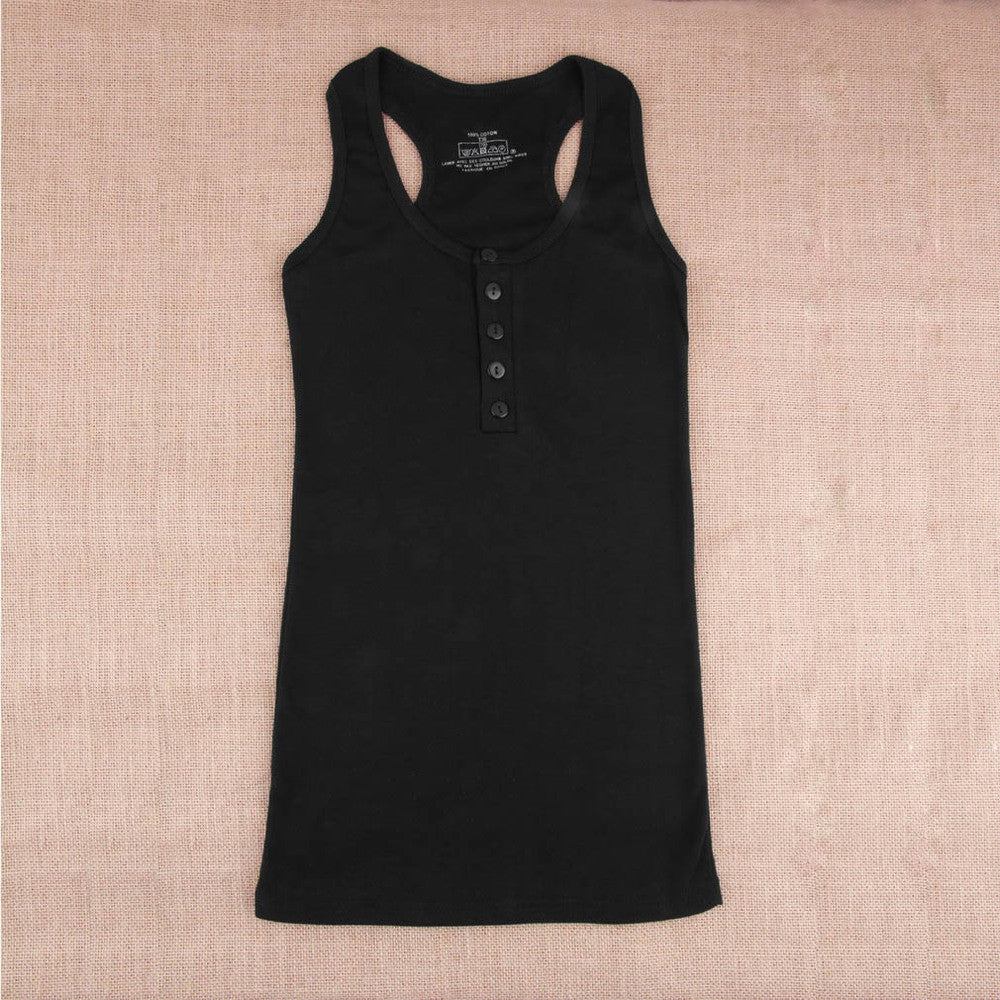 Black / One Size1Pc Ladies Multicolor Long Sleeveless Bodycon Temperament Cotton Long T-shirt Tank Top Women Vest Tops regatas feminino