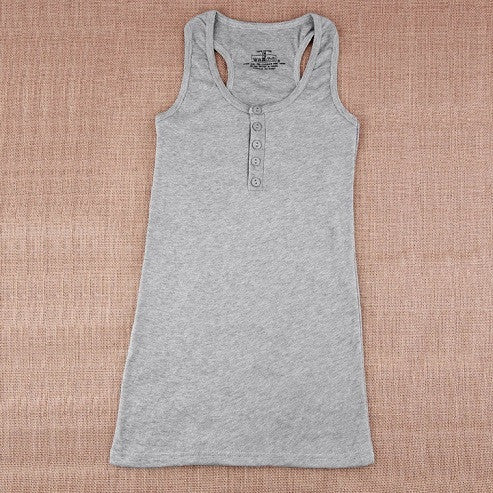 Gray / One Size1Pc Ladies Multicolor Long Sleeveless Bodycon Temperament Cotton Long T-shirt Tank Top Women Vest Tops regatas feminino