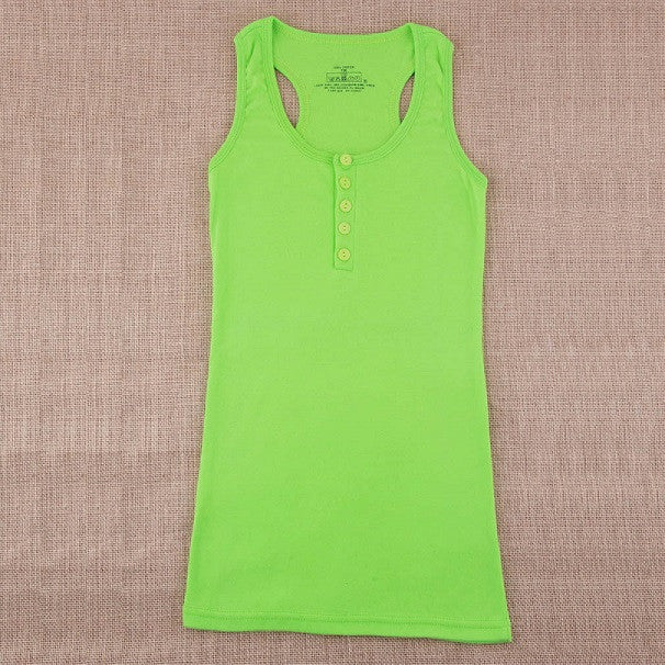Green / One Size1Pc Ladies Multicolor Long Sleeveless Bodycon Temperament Cotton Long T-shirt Tank Top Women Vest Tops regatas feminino