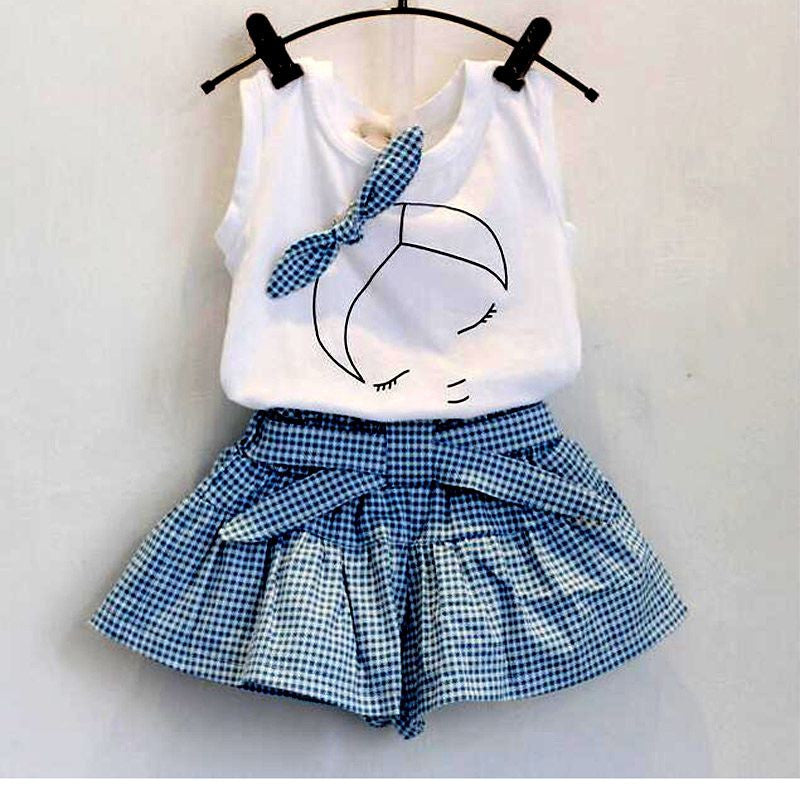 New brand summer baby girl clothing sets fashion Cotton print shortsleeve T-shirt and skirts girls clothes sport suits1CELEBRITYSTYLEFASHION