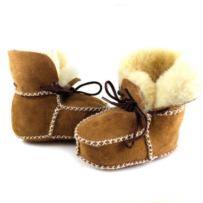 49035a936 winter baby shoes boots infants warm shoes fur wool girls baby booties  Sheepskin Genuine Leather boy