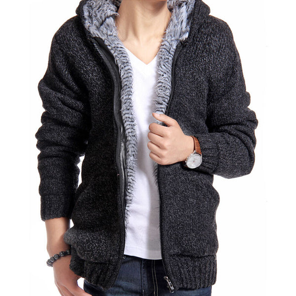 9ab0b420933 Jacket Men Thick Velvet Cotton Hooded Fur Jacket Mens Winter Padded Knitted  Casual Sweater Cardigan Coat