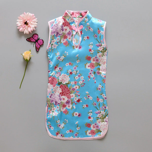 cd627473ab2e Fashion Chinese Style Flower Birds Cotton Children's Cloth Kids Qipao Dress  Sleeveless Summer Girl's Dress