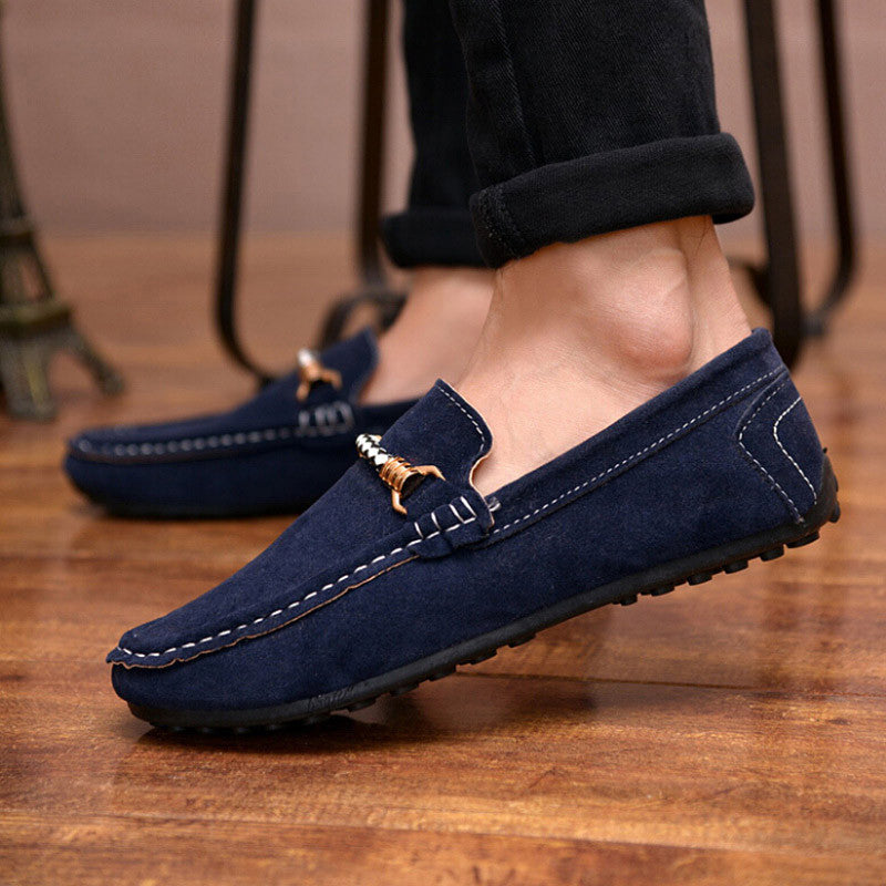 b7de84077696 Men Casual Shoes Fashion Leather Loafers Moccasins Slip On Flats Male suede Shoes  Spring autumn New