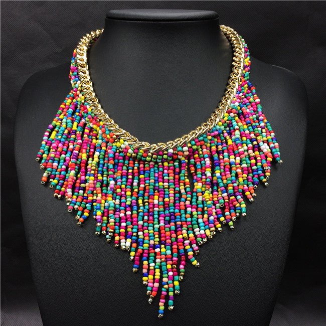 multiFashion Jewelry Mujer New Bohemian Necklaces Women Handmade Handwoven Collier Long Tassel Beads Choker Statement Necklaces