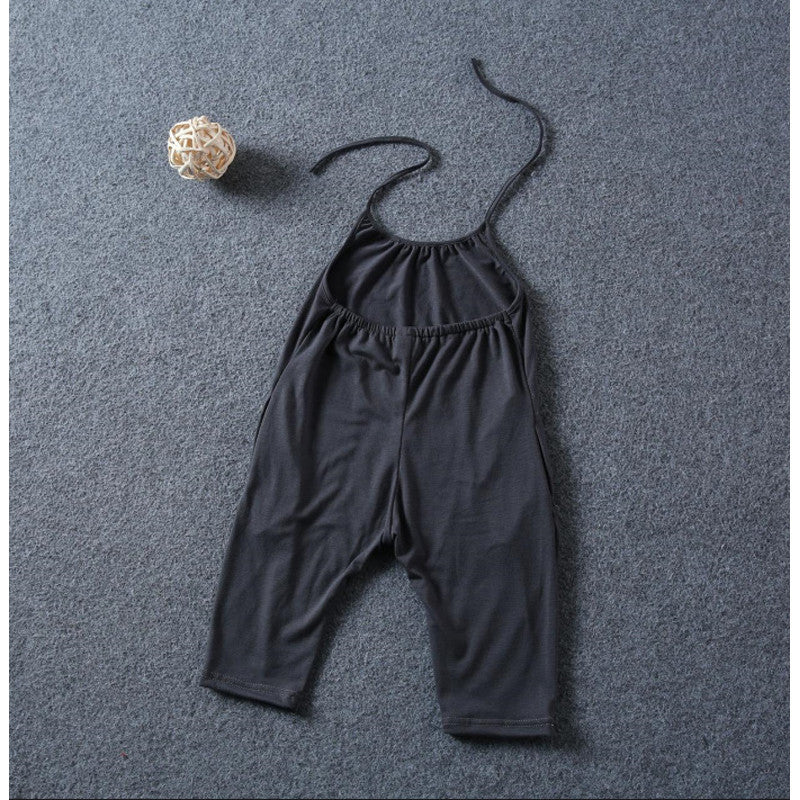Black / 5TBaby Clothes Girl Set Kids Fashion Sling Girls Summer Jumpsuit Children Sport Suits Cotton Sleeveless Kids Clothes