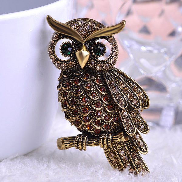 anti gold brownBig Owl Brooches For Wedding Bouquet Vintage Wedding Hijab Scarf Pin Up Buckle femininos Broches Game Bijoux