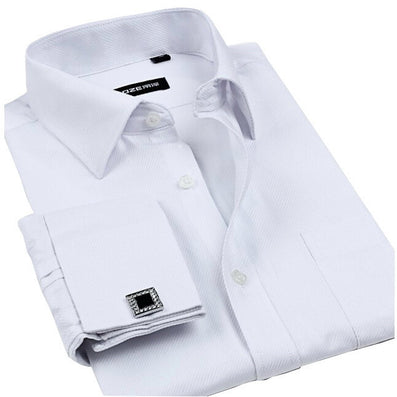 New Cufflinks Men Dress Shirts Fashion Formal Business Wedding French Cuff Stripe Shirts T0025 - CelebritystyleFashion.com.au online clothing shop australia