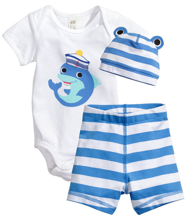 5f1cdd00b088 3Pcs Baby Girls Clothing Sets Summer Toddler Baby Boy Rompers Short Sleeve  Newborn Baby Clothes Cotton