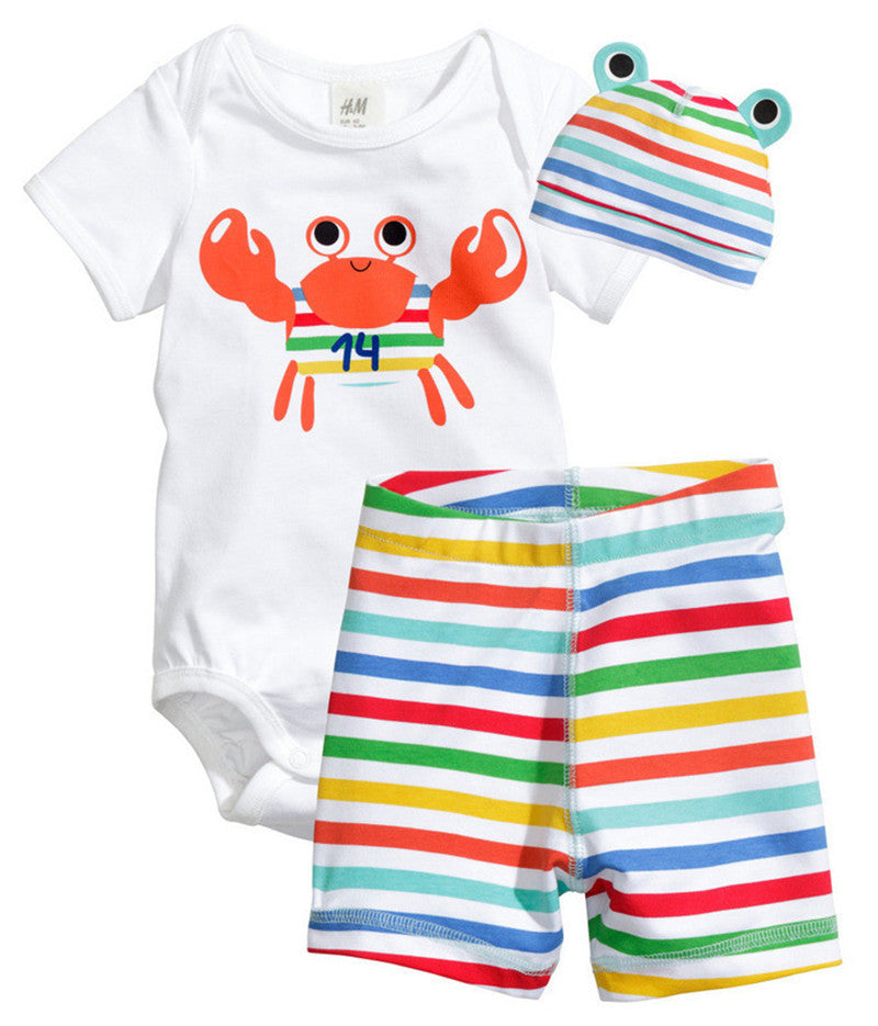 Crab / 7-9 months3Pcs Baby Girls Clothing Sets Summer Toddler Baby Boy Rompers Short Sleeve Newborn Baby Clothes Cotton Roupas Infant Jumpsuits