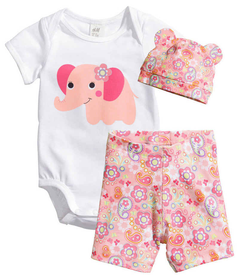Elephant / 7-9 months3Pcs Baby Girls Clothing Sets Summer Toddler Baby Boy Rompers Short Sleeve Newborn Baby Clothes Cotton Roupas Infant Jumpsuits