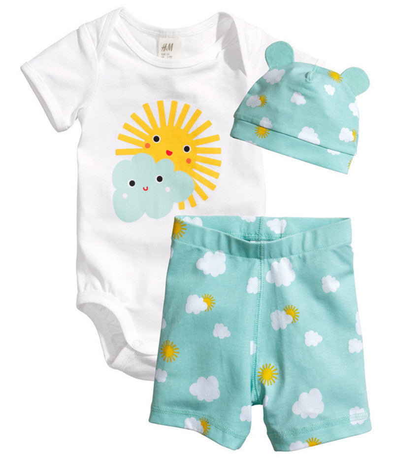 Sun / 7-9 months3Pcs Baby Girls Clothing Sets Summer Toddler Baby Boy Rompers Short Sleeve Newborn Baby Clothes Cotton Roupas Infant Jumpsuits