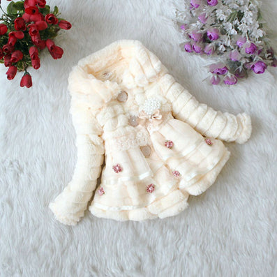 Baby Girls Faux Fur Fleece Coat Party Pageant Warm Jacket Xmas Snowsuit 1-5Years - CelebritystyleFashion.com.au online clothing shop australia