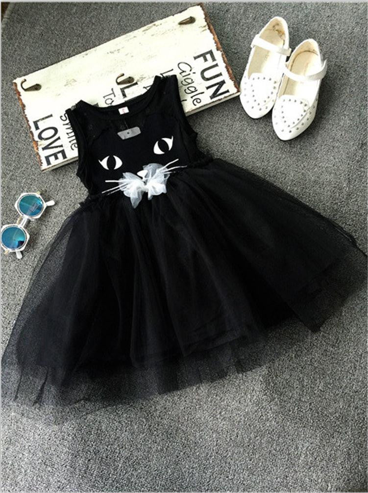 2015 New Arrival Summer Girl Dresses Cat Print Girls Clothes Baby Casual Dress Princess Party Children Costume Vestidos