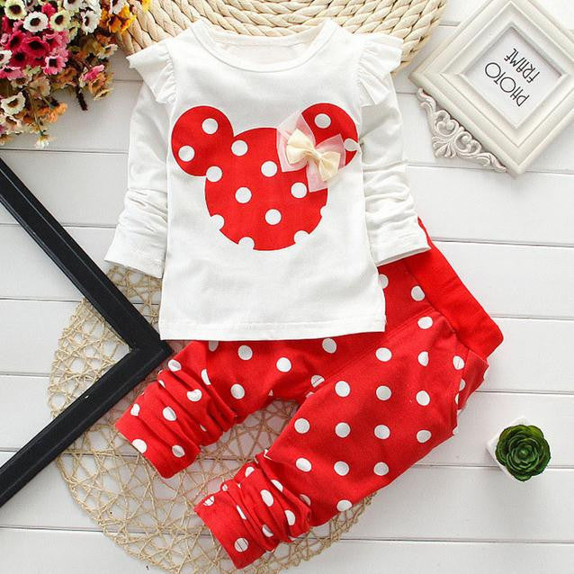 kids clothes girl baby long rabbit sleeve cotton Minnie casual suits baby clothing retail children suits Free shippingRedCELEBRITYSTYLEFASHION