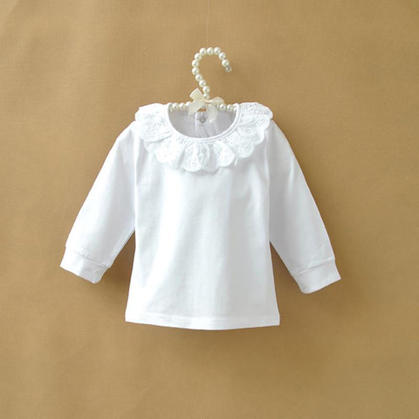 70d6c487 Autumn Children T shirt Baby Girls Tops Cotton Long Sleeve White Shirts for Girls  Lace Collar