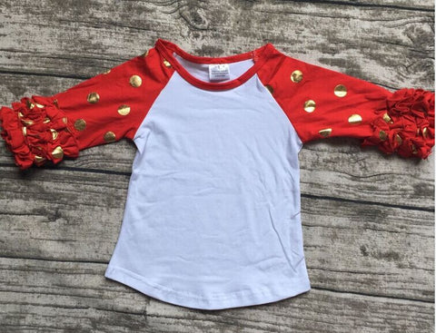 girls clothes raglan tops girls casual tops 7 color gold polka dot girls Autumn top girls icing raglans t shirt - CelebritystyleFashion.com.au online clothing shop australia