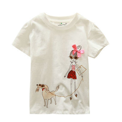 Baby Girls T-Shirt Summer Children's Tops Clothing Cute Cartoon Baby Girl And Dog Creative T-Shirt - CelebritystyleFashion.com.au online clothing shop australia