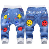 New Kids Jeans Elastic Waist Straight Bear Pattern Denim Seventh Pants Retail Boy Jeans For 2-5 Years WB142 - CelebritystyleFashion.com.au online clothing shop australia