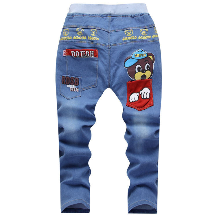 Light color / 5Autumn Children Jeans For Boy Baby Boys Jeans Pants Designer Kids Jean Children's Elastic Waist Trousers