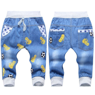 Fashion Kids Jeans Elastic Waist Straight Cartoon Jeans Denim Seventh Pants Retail Jeans For Kids 2-5 Y WB141 - CelebritystyleFashion.com.au online clothing shop australia