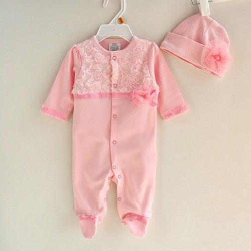 Pink / 3MPrincess Style Newborn Baby Girl Clothes Girls Lace Rompers+Hats Baby Clothing Sets Infant Jumpsuit Gifts