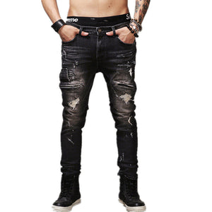 High Quality Mens Ripped Biker Jeans 100% Cotton Black Slim Fit Motorcycle Jeans Men Vintage Distressed Denim Jeans Pants Q1566 - CelebritystyleFashion.com.au online clothing shop australia
