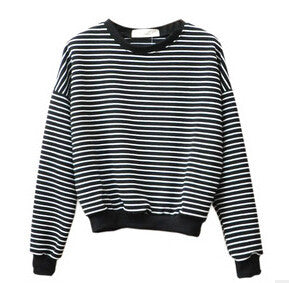 Fashion Hoodies for Women Harajuku Striped Sweatshirts Hoody Long Sleeve Hoodie Cotton Casual Black White Pullover Tops - CelebritystyleFashion.com.au online clothing shop australia