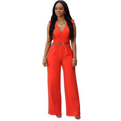 Jumpsuit Long Pants Overalls Dear Lover Women's Fashion Red V Neck Belt Embellished Elegant Playsuit Lady Work Wear LC64003 - CelebritystyleFashion.com.au online clothing shop australia