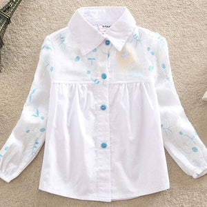Girls Blouse Fashion Children Clothing Cotton Child Shirt School Girl White Blouse Single-breasted Kids Clothes Age 2-6T - CelebritystyleFashion.com.au online clothing shop australia