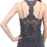 Summer New Fashion Womens Tank top Sexy lace tops Crochet Back Hollow-out woman Vest Camisole lace Black& Whit Vest - CelebritystyleFashion.com.au online clothing shop australia