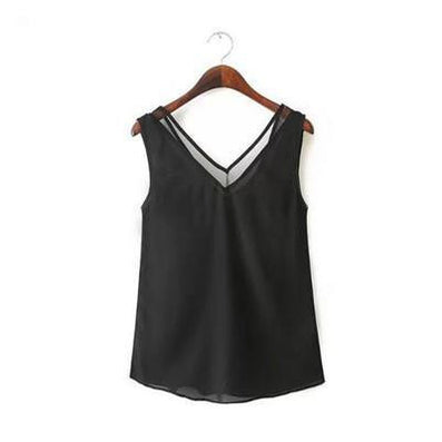 Tank Top Summer Style Women Tank Top Black /White Sexy Chiffon Tops Casual Woman Sleeveless Blouse - CelebritystyleFashion.com.au online clothing shop australia