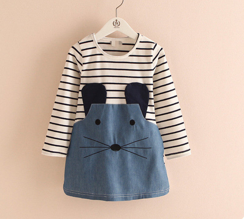 0021cec2e47 Striped Patchwork Character Girl Dresses Long Sleeve Cute Mouse Children  Clothing Kids Girls Dress Denim Kids
