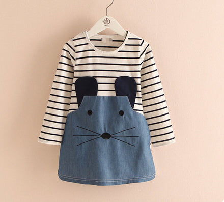Striped Patchwork Character Girl Dresses Long Sleeve Cute Mouse Children Clothing Kids Girls Dress Denim Kids Clothes Girls - CelebritystyleFashion.com.au online clothing shop australia
