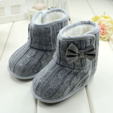 Baby Girl Boy Snow Boots Knit Bowknot Faux Fleece Soft Sole Kids Woolen Yam Knit Fur 3-18 Months - CelebritystyleFashion.com.au online clothing shop australia