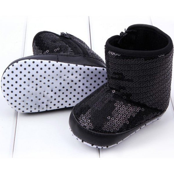 Black / 1Infant Kids Baby Girl Sequins High Boots Soft Bottom Anti-slip Walking Shoes