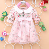 Spring New Fashion Baby Girls Cotton Dress Big Bow Infants Nice Floral Dresses - CelebritystyleFashion.com.au online clothing shop australia