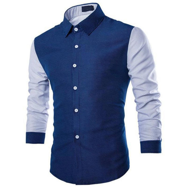 ba10a40ea Men Long Sleeve Dots Shirt Color Match Business Slim Fit Shirts Tops M-XXL
