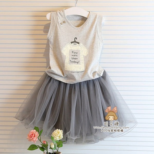 7cf60c0495f63 Baby girl clothing sets summer shirt +lace skirt children kids clothes grey  color t shirt with grey skirt girl clothes dress