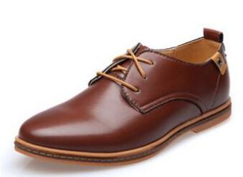 931554c8ffa0a Men Leather Shoes Casual Leather Lace-up Shoes Black Brown Flat Leather  Loafers Oxford shoes