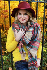 za Winter Tartan Scarf Desigual Plaid Scarf New Designer Unisex Acrylic Basic Shawls Women's Scarves za scarf - CelebritystyleFashion.com.au online clothing shop australia