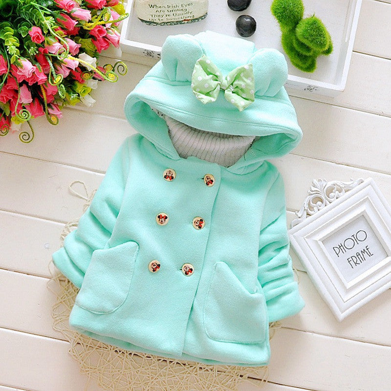 Green / 7-9 monthsAutumn Winter Baby Girls Infant Kids Double Breasted Hooded Princess Jacket Coats Outwears Christmas Gifts