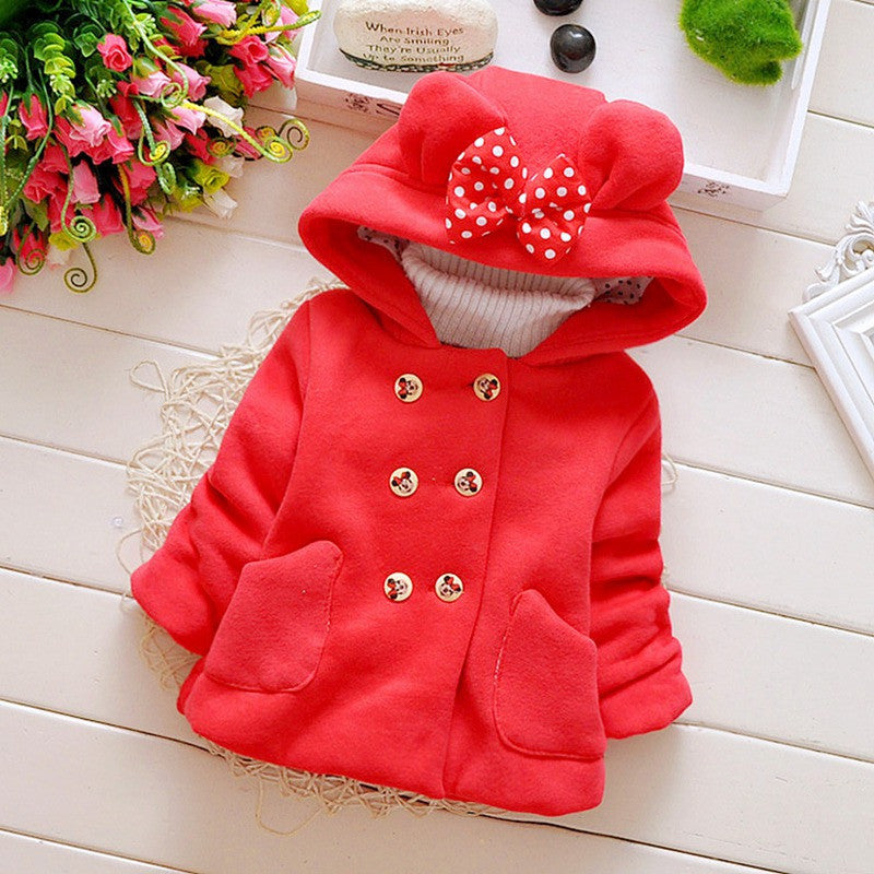 Red / 7-9 monthsAutumn Winter Baby Girls Infant Kids Double Breasted Hooded Princess Jacket Coats Outwears Christmas Gifts