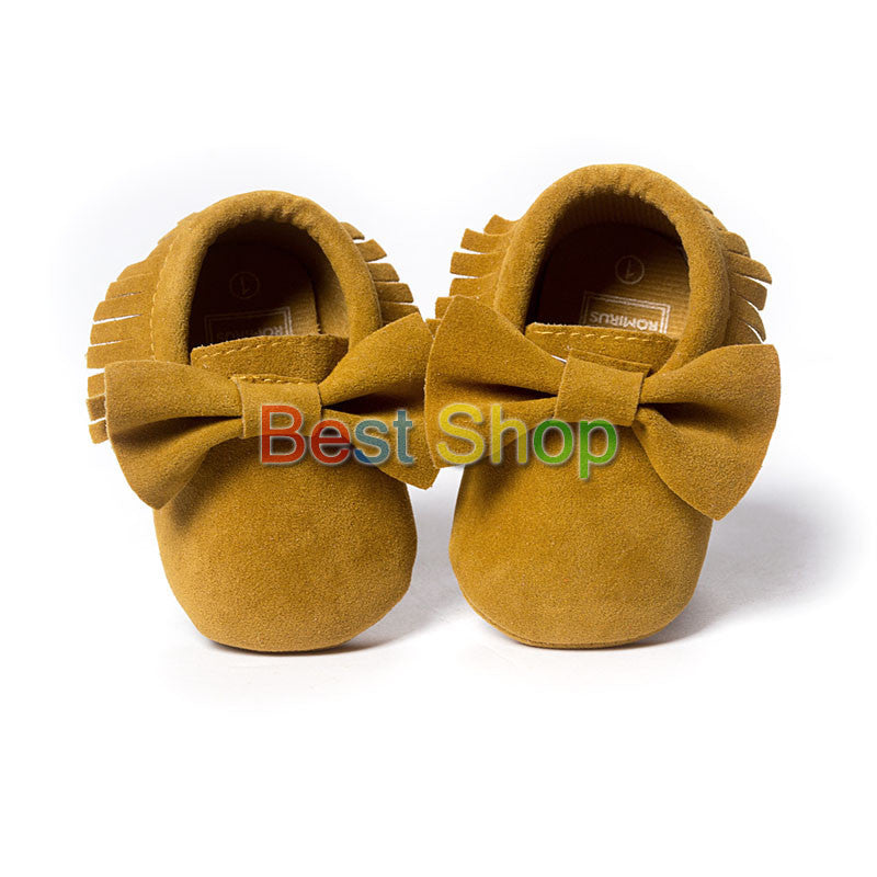 Model 1 / 7-12 MonthsCute Butterfly-knot Tassels Baby Moccasin Quality Infant Babies First Walkers Newborn Footwears Indoor Boots