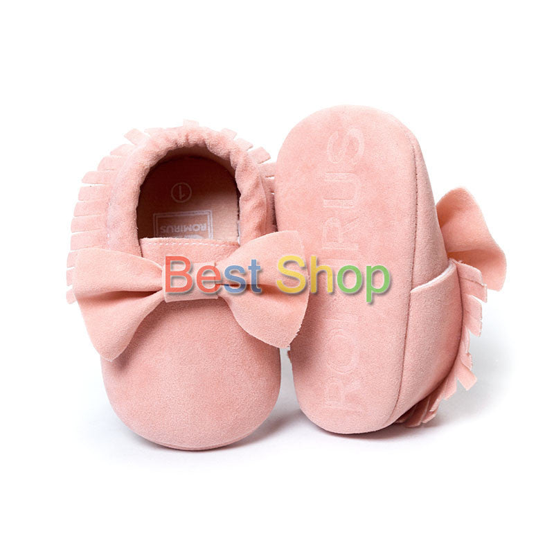 Model 5 / 7-12 MonthsCute Butterfly-knot Tassels Baby Moccasin Quality Infant Babies First Walkers Newborn Footwears Indoor Boots