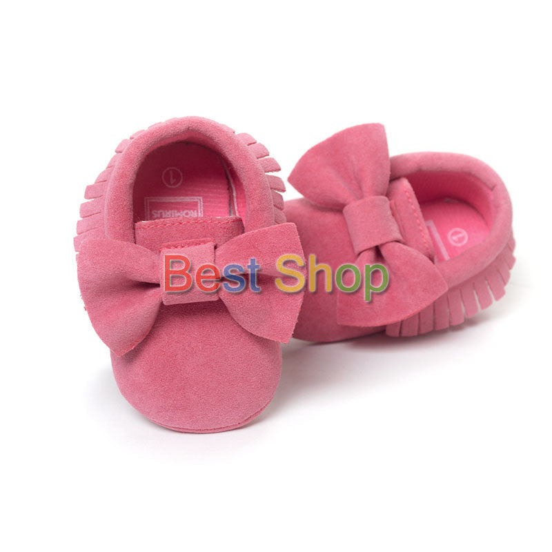 Model 6 / 7-12 MonthsCute Butterfly-knot Tassels Baby Moccasin Quality Infant Babies First Walkers Newborn Footwears Indoor Boots