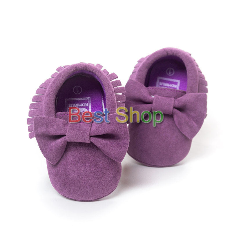 Model 10 / 7-12 MonthsCute Butterfly-knot Tassels Baby Moccasin Quality Infant Babies First Walkers Newborn Footwears Indoor Boots