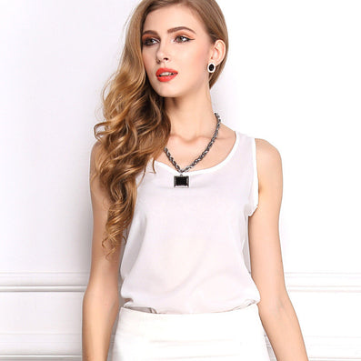 Summer explosion models chiffon shirt bottoming shirt Women Sleeveless Sexy Loose Casual Top Vest Camis Blouse New Fashion - CelebritystyleFashion.com.au online clothing shop australia